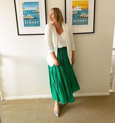 Kylie wears a white blazer and green skirt | 40plusstyle.com White Blazer Outfits, Simple Casual Outfits, Photos Of Women, Fashion Over 40, Midi Skirt, Style Inspiration, Womens Fashion, How To Wear, Clothes