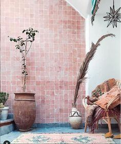 The project to renovate our fondouk in Marrakech is now complete. The finished space has been transformed into a showroom, design studio and HQ for Magic Bus Morocco. This inspirational space is available for photoshoots. Bohemia Design, Pink Tiles, Traditional Tile, Dreams Do Come True, Bohemian Living, Floor Rugs, Home Decor Inspiration, Wall Tiles, Concept