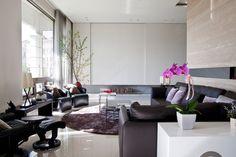 Asian inspired living room with modern rug design