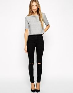 ASOS Rivington High Waist Denim Jeggings In Black With Ripped Knees