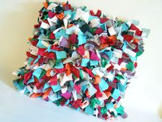 Fun shag pillow w/scrap fabric.