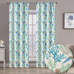 """Aubrie Home Accents Bottom of the Sea 2 Panel Pair of 84"""" Nautical Fish Print Window Curtains in Blue Red Green, Blue, Fish Print, Window Curtains, Home Accents, Window Treatments, Nautical, Windows, Sea"""