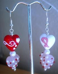 Valentine Cancer Ribbon Awareness Earrings $10.00