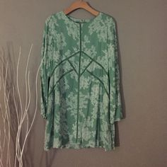 Francesca's mint boho dress Brand New w/Tags attached. Never wore. Impulse buy that I will never wear! Mint color with white print. Francesca's Collections Dresses Mini