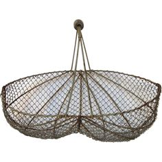 "Rustic, vintage French, wire ""buttocks"" basket, used for harvesting farm grown fruits and vegetables. The handle is fixed upright, bound together and Harvest Farm, Harvest Basket, Ruby Lane, Garden Basket, Shabby Chic Garden, Dream Garden, Garden Inspiration, Garden Furniture, French Vintage"