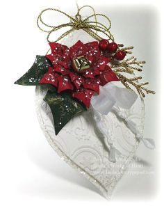 *** Wonder what this would look like if the white was a cream ? ***  christmas tag - ornament with poinsetta by Linda Duke. Just beautiful!