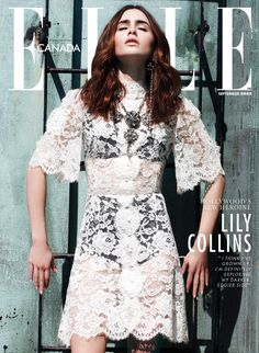 Lily Collins media gallery on Coolspotters. See photos, videos, and links of Lily Collins. Lily Collins, Elle Magazine, Magazine Covers, Fashion Cover, Celebs, Celebrities, Crochet, Editorial Fashion, Editorial Design