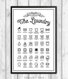 Laundry Symbols Poster - print - Guide To Procedures, Laundry, Reference, Rules, if (when) the laundry area gets redone. Laundry Area, Laundry Room Design, Laundry Rooms, Laundry Symbols, Etiquette Vintage, Diy Casa, Laundry Room Inspiration, Laundry Hacks, Laundry Signs