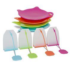 Tea Infusiast 8 Piece Premium Silicone Loose Leaf Tea Infuser Steeper Strainer Diffuser and Bag Holder Coaster Set