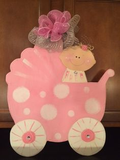 Baby Carriage Door Hanger  Its a Girl  Baby by ChristmasBlessings, $30.00