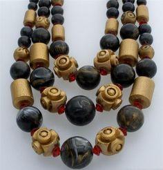 Multi 3 Strand Gold Foiled Resin Black Carved Wood Red Bead Vintage Necklace | eBay