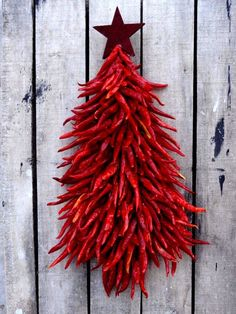 STUNNING CHILI PEPPERS Christmas Tree Wreath  by SteliosArt