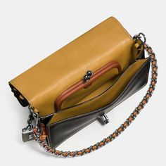 Coach 1941 TEA rose applique dinky crossbody in leather in OLD BRASS/BLACK