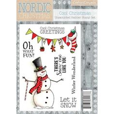 Nordic Christmas Unmounted Rubber Stamp Set - Cool Christmas For Christmas crafting in a Scandinavian style look no further than this fabulously Christmas Bunting, Nordic Christmas, Christmas Snowman, Christmas Stockings, Christmas Holidays, Christmas Crafts, Christmas Decorations, Christmas Ornaments, Christmas Settings