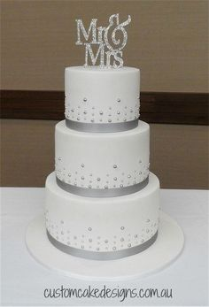 Simple Silver and White Wedding Cake