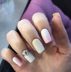 Bright gradient nails, Custom nails, Delicate nails, Extraordinary nails, Gradient nails 2016, Nails with gems, Nails with stones, Obmre nails