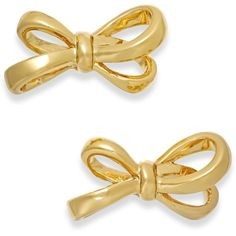kate spade new york Gold-Tone Bow Stud Earrings ($48) ❤ liked on Polyvore featuring jewelry, earrings, accessories, studs, gold, gold tone earrings, kate spade, kate spade jewelry, bow jewelry and bow stud earrings
