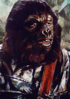 Painting for a Planet of The Apes trading card.