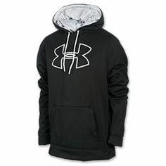 Men's Under Armour Fleece Storm Outline Big Logo Hoodie| FinishLine.com | Black/White/Graphic