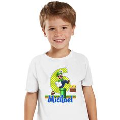 Super Mario and Luigi - Iron-on Tshirt Transfer (Birthday Party Shirt) / Children Party Ideas / Children Party Themes / Kid Party Ideas / DIY Party Ideas / Birthday Shirt / Birthday Shirt Ideas / Birthday Shirt DIY / Tshirt DIY / Tshirt Transfer DIY Ideas / Birthday Shirt For Boys