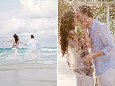 South Pointe Park beach engagement session / Robert Rios Photography