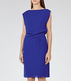 Kier Sapphire Pleat-detail Dress - REISS