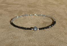 Labradorite Bracelet, Black Spinel Bracelet, Gemstone Bracelet, Spinel Bracelet, Black Bracelet, Dainty Bracelet by ThreeMagicGenies on Etsy