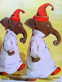 1910s GOODNIGHT ELEPHANTS BEDTIME Print by sandshoevintagebooks, $9.00