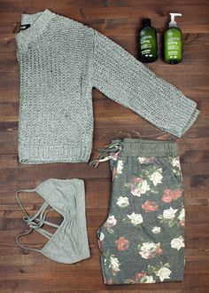 sweater + scrappy bralette + sweatpants + travel + packing light + capsule wardrobe + flat lay + fall fashion + style