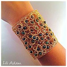 Cuff braceletwire crochet jewelry-bridal cuff