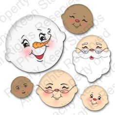 PK-480 Christmas Character Face Assortment: Peachy Keen Stamps | Home of the original clear, peach-tinted, high-quality whimsical face stamps.