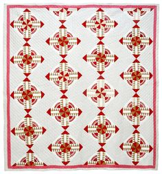 Unusual Block Design quilt,  late 19th or early 20th century, collection of Bill Volckening at Wonkyworld