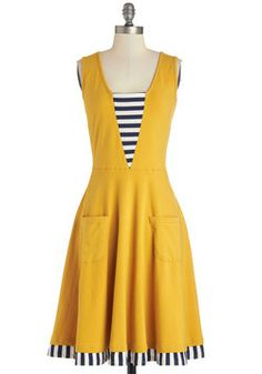 Sailboat-load of Fun Dress. Whats more fun than a bright yellow dress with a nautical twist? #yellow #modcloth