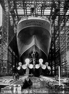 RMS Mauretania under construction – One of the most famous ships ever built in Tyneside   #vintage#retro#nostalgia#history#black and white#photography#ship#construction#RMS Mauretania#tyneside