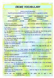 English worksheet: CRIME VOCABULARY
