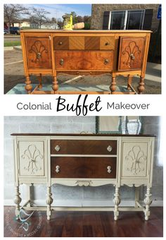 Colonial Revival Buffet Makeover using General Finishes - www.designeddecor.com