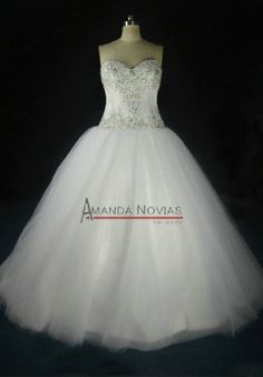 Real Photos Bridal Dress Sweetheart Neckline Silver Beading Wedding Dress $289.00
