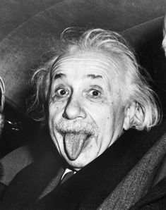 Einstein's Famous Tongue  Albert Einstein sticks out his tongue when asked by photographers to smile for his 72 birthday. This famous image shows the eminent scientist's irreverent nature. The photo was taken at Princeton in 1951.