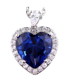 Heart of Ocean Large Halo Heart Necklace Pendant Birth Month Colors September Simulated Blue Sapphire Pendants Birth Month Stones, Birth Month Colors, Hamsa Necklace, Heart Pendant Necklace, Stone Necklace, Diamond Choker, Diamond Solitaire Necklace, Good Luck Necklace, Fantasy Jewelry