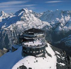 Piz gloria, Schilthorn, Switzerland.  Revolving restaurant where you can see over 200 mountain peaks