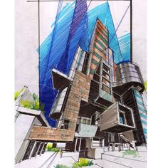 This sketch is effectively rendered using different shades of colour to show the texture, form and tone of the building.