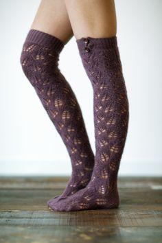 Plum Knitted Boot Socks with Buttons  Fashion par ThreeBirdNest, $38.00