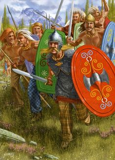 Another good example of Gaulish warriors exploding into a charge. The warrior in the lead is a noble wearing the latest mail armour. Behind him are the warriors under his direct command probably close relations and members of his community. They will undoubtedly fight bravely.