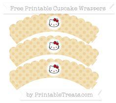 Free Pastel Bright Orange Polka Dot  Hello Kitty Scalloped Cupcake Wrappers