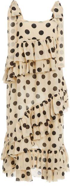 LEE MATHEWS Minnie Spot Ruffle Apron Dress ad polka dot