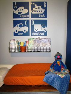 canvas idea for O's room - like the hanging basket for diaper station in nursery...