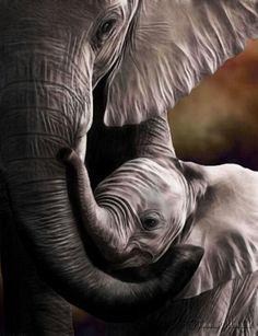 Mother and baby elephant love Mama Elephant, Elephant Love, Baby Elephants, Elephant Art, African Elephant, Mother And Baby Elephant, Funny Elephant, Painted Elephants, Elephants Photos
