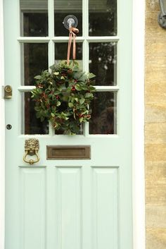 Modern Country Style: Case Study: Farrow and Ball Powder Blue Click through for details. Country Front Door, Cottage Front Doors, Modern Front Door, House Doors, Farrow And Ball Front Door Colours, Front Door Colors, Front Door Decor, Modern Country Style, Country Style Homes