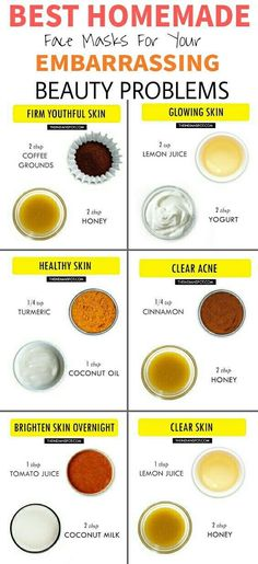 Beauty hacks beauty tips Best Homemade Face masks Clear Acne popular pin DIY tips beauty infographic glowing skin Beauty Care, Beauty Skin, Face Beauty, Beauty Makeup, Makeup Tips, Diy Beauty Mask, Makeup Hacks, Makeup Trends, Makeup Ideas