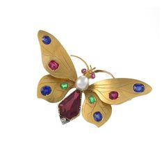 Austrian Art Nouveau Jeweled Butterfly Brooch | From a unique collection of vintage brooches at https://www.1stdibs.com/jewelry/brooches/brooches/